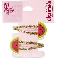 Watermelon Gold Sparkly Hair Clips - Sparkly Gifts