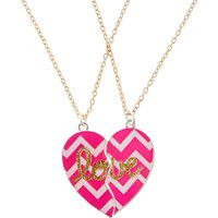 Pink Chevron Love Best Friend Heart Necklaces - Best Friend Gifts