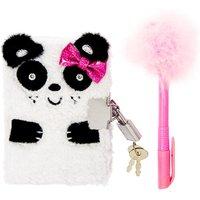 Kids Fluffy Panda Lock Diary with Pen - Panda Gifts