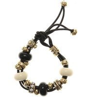 Gold Elephant and Turtle Black Cord Bracelet - Turtle Gifts