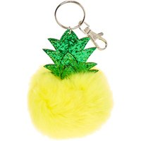 Scented Pineapple Yellow Pom Pom Key Ring - Key Ring Gifts