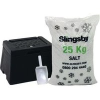 'Mini Grit Bin With Scoop And 25kg White Salt