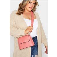 Pink plaited strap camera bag