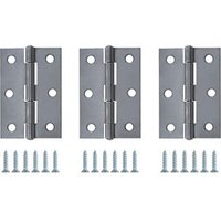 Chrome-plated Steel Butt Door hinge (L)75mm N172  Pack of 3