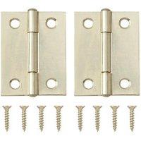Brass-plated Metal Butt Door hinge (L)50mm NO74  Pack of 2