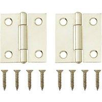 Brass-plated Metal Butt Door hinge (L)38mm  Pack of 2