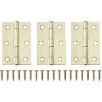 Brass-plated Metal Butt Door hinge (L)75mm N162  Pack of 3