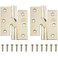 Brass-plated Metal Butt Door hinge (L)75mm N162  Pack of 2