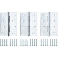 Zinc-plated Metal Butt Door hinge (L)100mm  Pack of 3