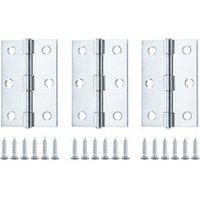 Zinc-plated Metal Butt Door hinge (L)75mm  Pack of 3