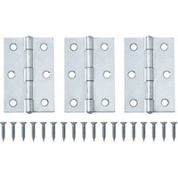 Chrome-plated Metal Butt Door hinge (L)75mm N166  Pack of 3