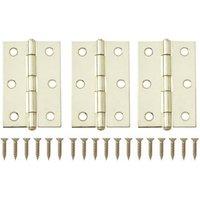 Brass-plated Metal Butt Door hinge (L)75mm N163  Pack of 3