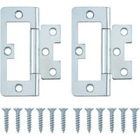 Zinc-plated Metal Flush Door hinge (L)75mm  Pack of 2