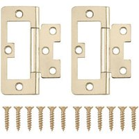 Brass-plated Metal Flush Door hinge (L)75mm N162  Pack of 2