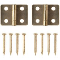 Brass-plated Metal Butt Door hinge (L)13mm  Pack of 2