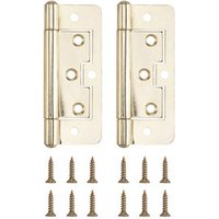 Brass-plated Metal Flush Door hinge (L)100mm  Pack of 2