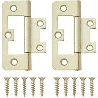 Brass-plated Metal Flush Door hinge (L)65mm NO96  Pack of 2