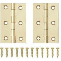 Brass-plated Metal Butt Door hinge (L)65mm N162  Pack of 2