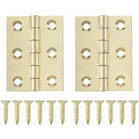 Polished Brass-plated Metal Butt Door hinge (L)50mm  Pack of 2