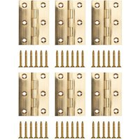 Polished Brass-plated Metal Butt Door hinge (L)75mm  Pack of 6