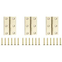 Polished Brass-plated Metal Butt Door hinge (L)75mm N162  Pack of 3