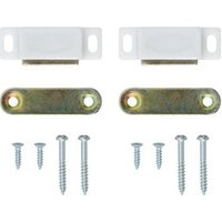 White Carbon steel Magnetic Cabinet catch Pack of 2.