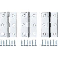 Chrome-plated Metal Butt Door hinge (L)75mm N429  Pack of 3