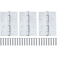 Chrome-plated Metal Butt Door hinge (L)100mm  Pack of 3