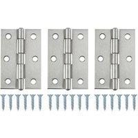 Satin Nickel-plated Metal Butt Door hinge (L)75mm  Pack of 3