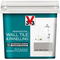 V33 Renovation Loft grey Satin Wall tile and panelling paint  750ml