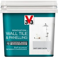 V33 Renovation Soft grey Satin Wall tile and panelling paint  750ml