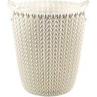 Curver Oasis white Knit effect Plastic Circular Kitchen bin  7L