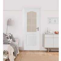 2 panel 6 Lite Etched Glazed Arched Pre-painted White Internal Door  (H)1981mm (W)762mm