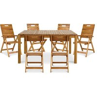 Denia Wooden 6 seater Dining set with Recliner & standard chairs.