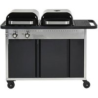 GoodHome Rockwell Black Charcoal & gas Hybrid barbecue.