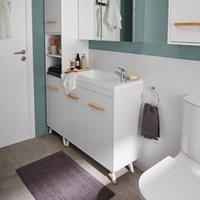 GoodHome Ladoga White Freestanding Vanity & basin Cabinet (W)600mm (H)810mm.