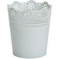 Duck egg Plastic Lace Plant pot (Dia)13.7cm.