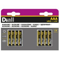 Diall Alkaline batteries Non rechargeable AAA (LR03) Battery Pack of 8.