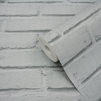 GoodHome Luynes Light grey Brick Textured Wallpaper