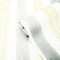 'Goodhome Eulophia Grey & Yellow Striped Textured Wallpaper