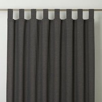 Chambray Grey Plain Unlined Tab top Curtain (W)140cm (L)260cm  Single