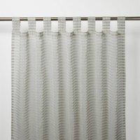 Tolok Grey Horizontal stripe Unlined Tab top Voile curtain (W)140cm (L)260cm  Single