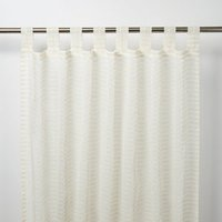 Tolok Ivory Horizontal stripe Unlined Tab top Voile curtain (W)140cm (L)260cm  Single