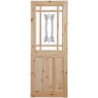 2 panel Patterned Glazed Knotty pine LH and RH Internal Door  (H)1981mm (W)762mm