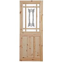 2 panel Patterned Glazed Knotty pine LH and RH Internal Door  (H)2032mm (W)813mm