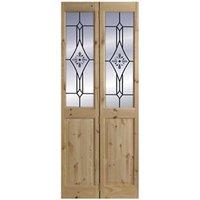 4 panel 2 Lite Frosted Glazed Knotty pine Internal Bi-fold Door set  (H)2005mm (W)715mm