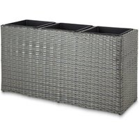 Sulana Grey rattan effect Rectangular Planter