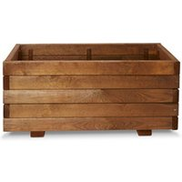 Bopha Pressure treated wood brown Wooden Rectangular Trough with Liner and fixings 40cm