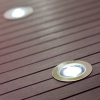 Blooma Coldstrip Brushed Silver effect Mains-powered Neutral white LED Decking light  Pack of 10