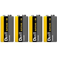 Diall Alkaline batteries Non-rechargeable 9V Battery Pack of 4.